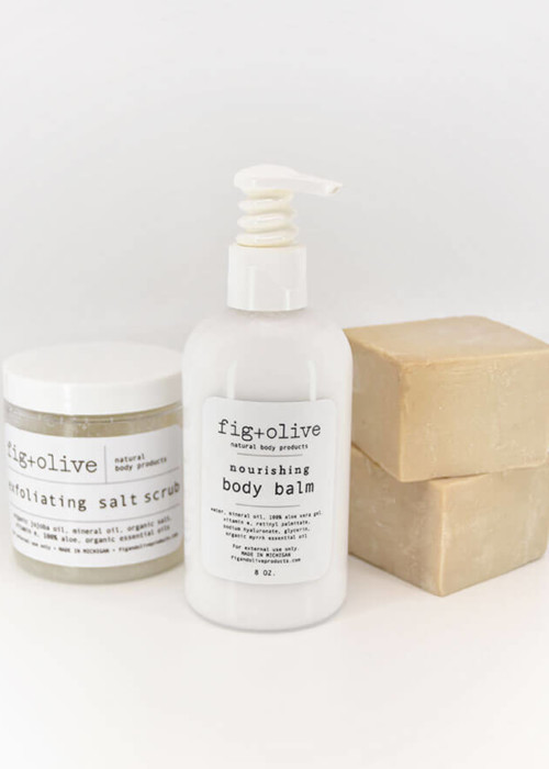 Sample Bag products with salt scrub, body balm and olive oil soap